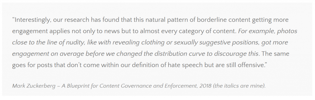 a quote from mark zuckerberg regarding borderline content that states directly nudity is on the borderline of what is acceptable