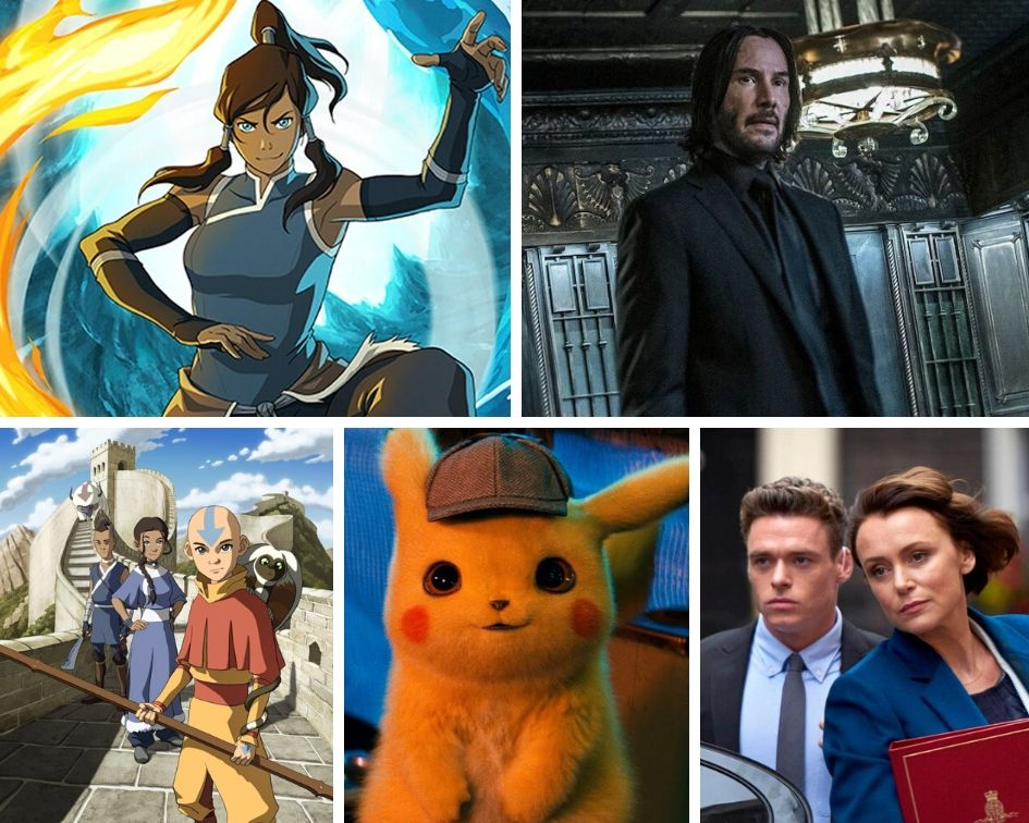 Left top: Korra, from the Legend of Korra Right top: Keanu Reeves as John Wick Left bottom: Aang, Momo, Katara, Sokka, and Appa from Avatar: The Last Airbender Bottom middle: Pikachu from Detective Pikachu Right bottom: A still from the TV series Bodyguard