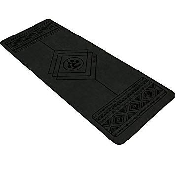 A black yoga mat laying flat
