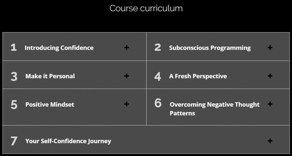 A screenshot showing the course curriculum and each section of the course.